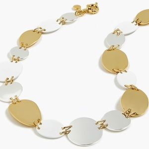 JCREW Oval and Circle Necklace NWT White Gold Slvr